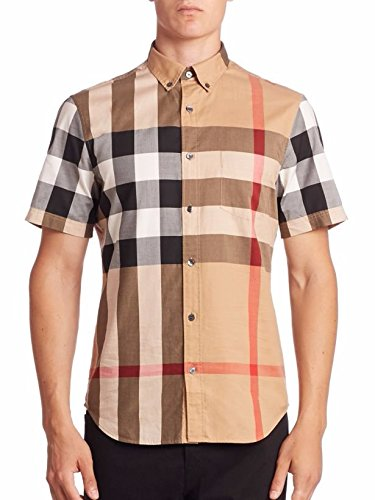 Burberry Brit Mens Fred Camel Large Check Shirt  Medium