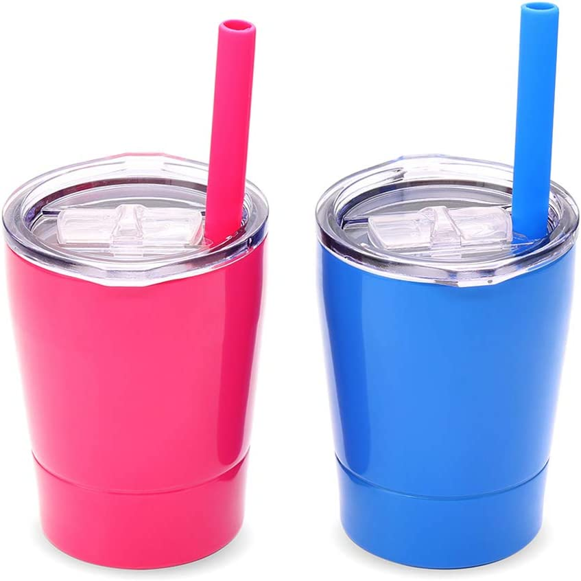 Colorful PoPo Small Cute Kids Cups 2 Pack, Stainless Steel Kid Tumbler with Lid and Straw, Double Wall Vacuum Insulated Toddler Sippy Cups, Children Smoothie Drinking Cup - Pink and Blue