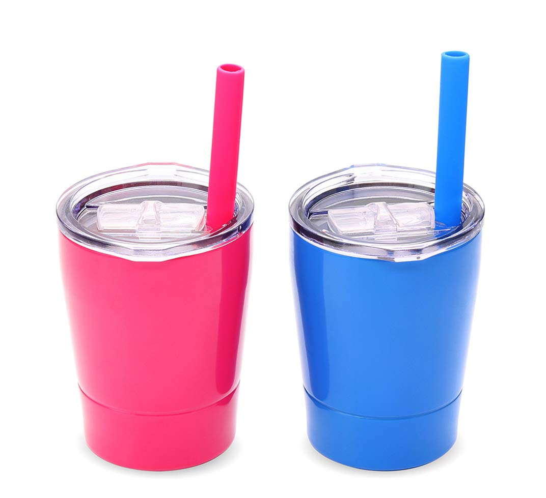 Colorful PoPo Kids Stainless Steel Cup Lovely Small Rambler Tumbler Sippy Cup with Lid and Silicone Straw, 8.5 OZ Pink and Blue, Set of 2 by Colorful PoPo