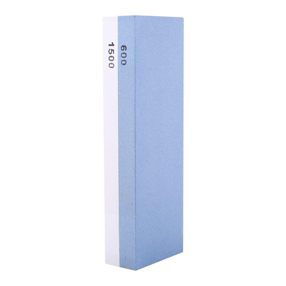 Abziehstein K/üchenmessersch/ärfer f/ür Messer K/örnung 600//1500 Blau und Wei/ß 180*60*27mm mit Basis Beidseitiger Schleifstein