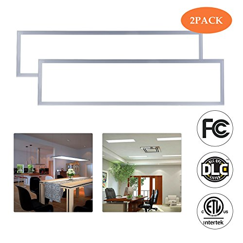 LED Troffer Light Panels, 1 x 4 Dimmable Ceiling Panel Lighting Fixture for Offices, Kitchens, 4000 Lumens, 5000K, Ultra-thin, DLC-Qualified with ETL Listed