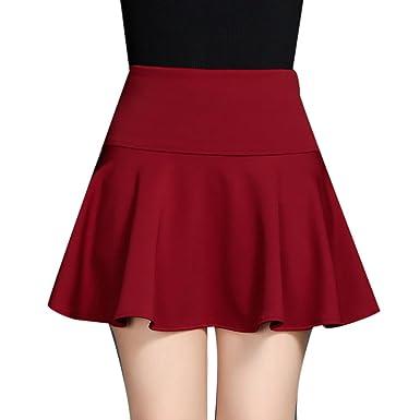 75d04cd22287fd Damen Basic Skirt Mädchen Mini Skater Rock SAMT A-line Stretch Rock Rot XL