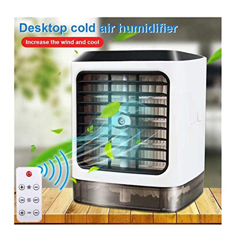 Anti Water Usb - ErYao Portable Mini Air Conditioner Cooling Fan, Remote Control Personal Air Cooler with 7 Colors Led Night Light, 3 Speed USB Anti-leakage Water Cooling Fan for Car, Home, Office Desk Cooler (White)
