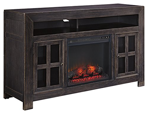Ashley Furniture Signature Design – Gavelston Hand-Finished TV Stand with Glass Fireplace Insert – Black