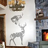 Outdoorsman Sudden Shadows Wall Mural – Deer & Fish – Deluxe Wildlife Set – Wall Art