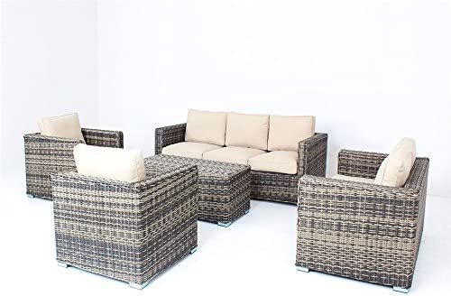 5pc Modern Outdoor Backyard Wicker Rattan Patio Furniture Sofa Set Khaki-HR