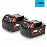 Enegitech M18 5.0Ah Battery for Milwaukee 18V XC Red Lithium M18B 48-11-1820 48-11-1850 48-11-1828 48-11-1815 Cordless Power Tools - 2 Pack