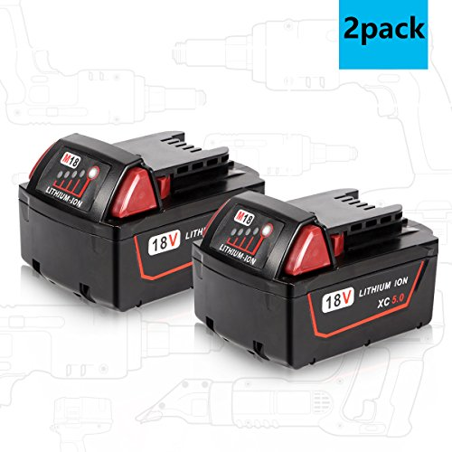 Enegitech M18 5.0Ah Battery for Milwaukee 18V XC Red Lithium M18B 48-11-1820 48-11-1850 48-11-1828 48-11-1815 Cordless Power Tools - 2 Pack by Enegitech