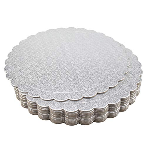- Tebery 15 Pack Round Cake Boards 10-inch Premium Silver Cake Circles Cardboard Scalloped Cake Circle Base