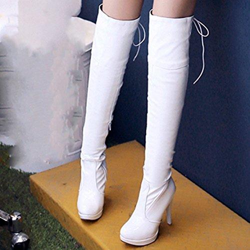 AIYOUMEI Damen Lack Stiletto High Heel Plateau Overknee Stiefel mit Schnürung und 11cm Absatz Weiß