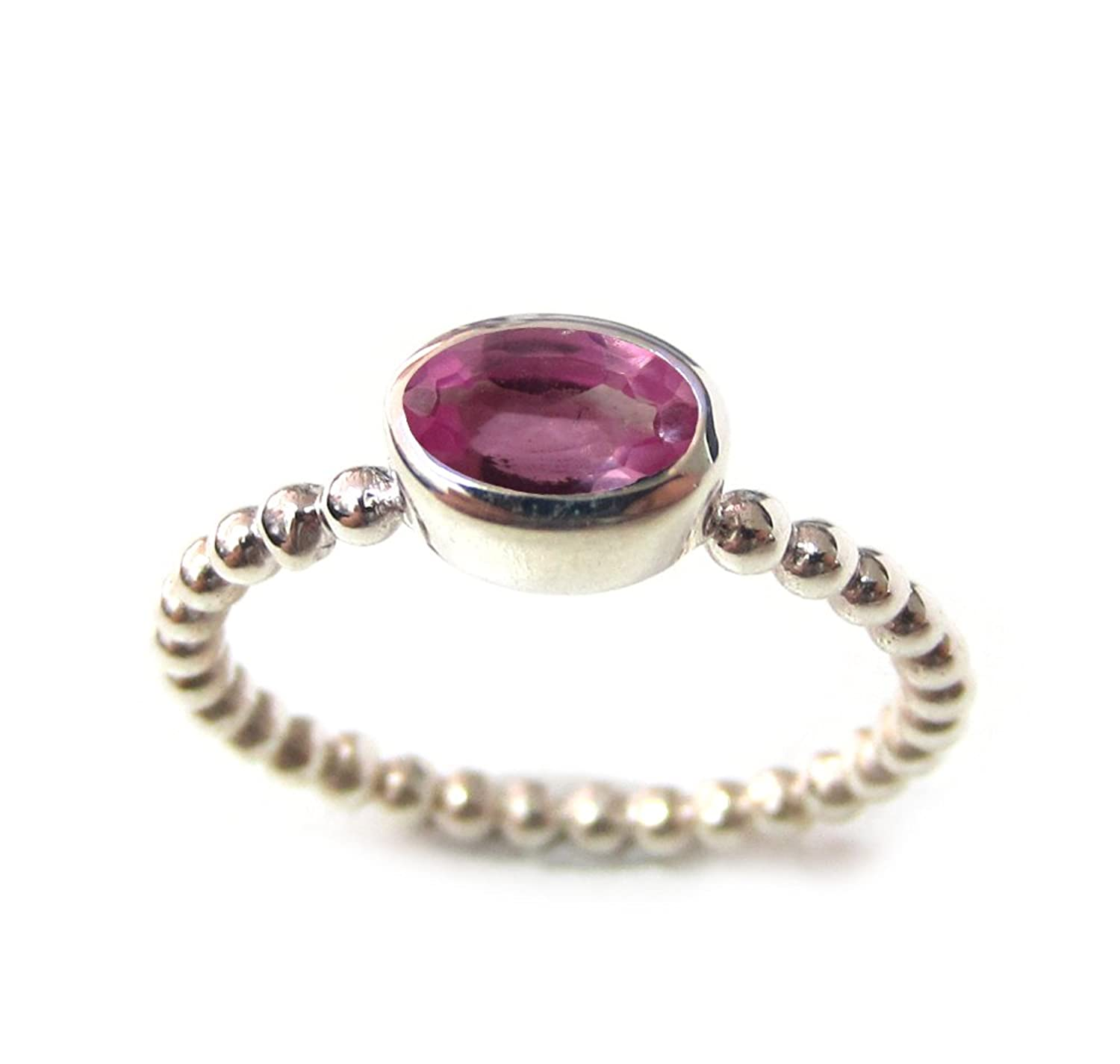 ZilverPassion Oval Pink Tourmaline Colored CZ Sterling Silver Stackable Bead Band Ring October Birthstone Size 2-15
