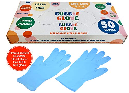 Bubble Glove: Best Kids Nitrile Gloves (latex free, powder free, odorless) - Prevent Skin Allergy or Irritation for Multipurpose Use (50 counts, Blue)
