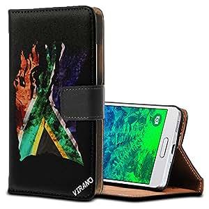 Bandera Rasgada South Africa, Negro Funda de Piel Cuero Case Magnética con Función de Soporte Carcasa con Diseño Texturado para Samsung Galaxy Alpha SM-G850F