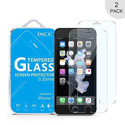 iXCC 2PCS iPhone 8 iPhone 7 Screen Protector Glass, 0.3MM Tempered Glass Screen Protector [Bubble Free, Anti-Fingerprint, Oil Stain and Scratch Coating]