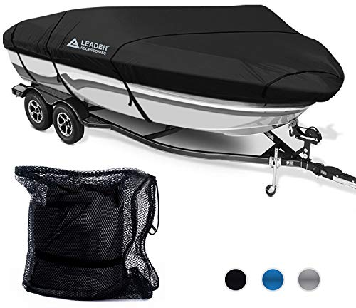 (Leader Accessories 300D Polyester 5 Colors Waterproof Trailerable Runabout Boat Cover Fit V-Hull Tri-Hull Fishing Ski Pro-Style Bass Boats, Full Size (16'-18.5'L Beam Width up to 94'',)