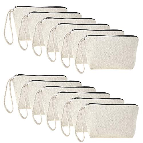 Aspire 12-Pack Natural 100% Cotton Canvas Pouches with Black Zip Wristlet Cosmetics Bags ()