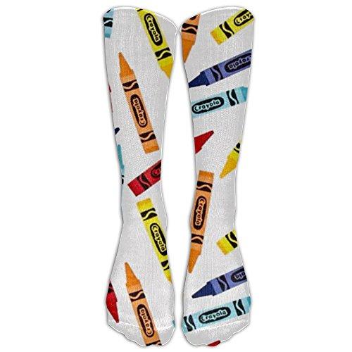 NEW Crayon White Athletic Tube Stockings Women's Men's Classics Knee High Socks Sport Long Sock One Size (Socks Crayon)