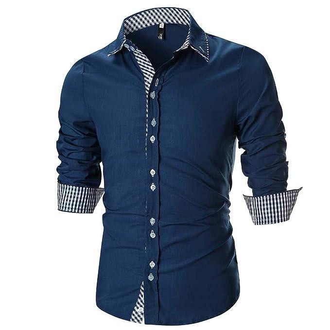 La Blusa Superior de la Camisa Escocesa de Manga Larga Delgada Ocasional de los Hombres de