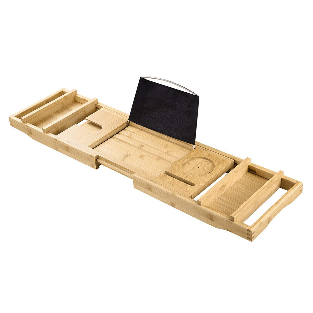 Chi Mercantile Bathroom Bathtub Spa Waterproof Bamboo Caddy Tray with Extendable Sides Wine Glass Phone Tablet Holder