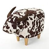 Bertha Milk Cow Patterned New Velvet Ottoman (Brown Milk Cow) For Sale