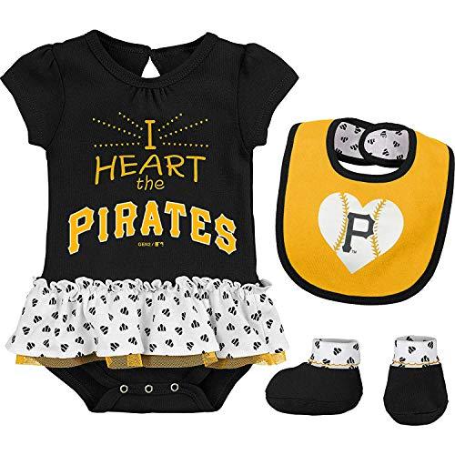 Outerstuff MLB Newborn & Infants Girls Baseball Girl Creeper, Bib, Bootie Set (6/9 Months, Pittsburgh Pirates)