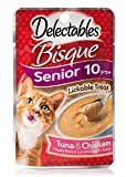 Delectables Bisque Senior 10 yrs+ With Vitamins E and B Lickable Treat Tuna & Chicken (4-Pouches) (NET WT 1.4 OZ EACH)