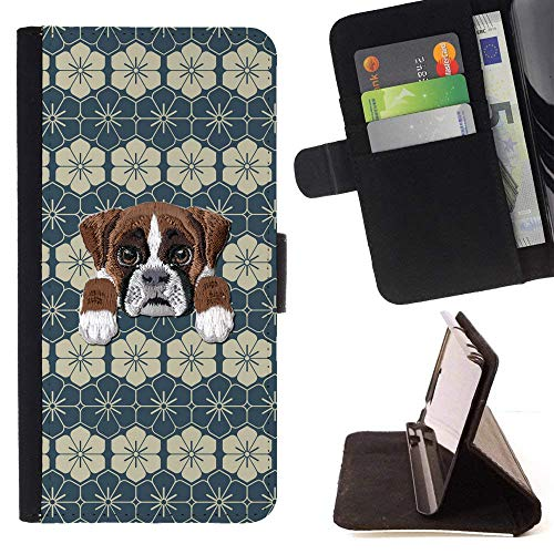 [ Boxer Dog ] Embroidered Cute Dog Puppy Leather Wallet Case for Samsung Galaxy S8 Active [ Dark Classic Lines Pattern ]