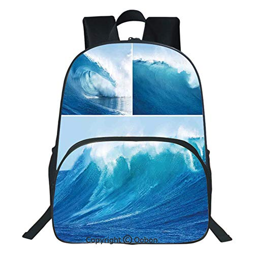 Oobon Kids Toddler School Waterproof 3D Cartoon Backpack, Collage of Giant Sea Wave Photos Refreshing Diving and Surfing Lifestyle Leisure Concept Art, Fits 14 Inch Laptop ()