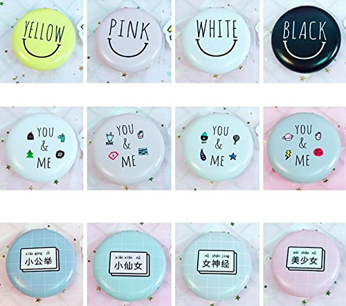 YChoice Cute Baby Toy Mini Round BLACK Letter Pattern Glass Mirrors Circles for Crafts Decoration Cosmetic Accessory Black