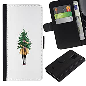 Planetar® Modelo colorido cuero carpeta tirón caso cubierta piel Holster Funda protección Para Samsung Galaxy S5 Mini / SM-G800 (Not For S5!!!) ( Winter White Christmas Árbol de Navidad)