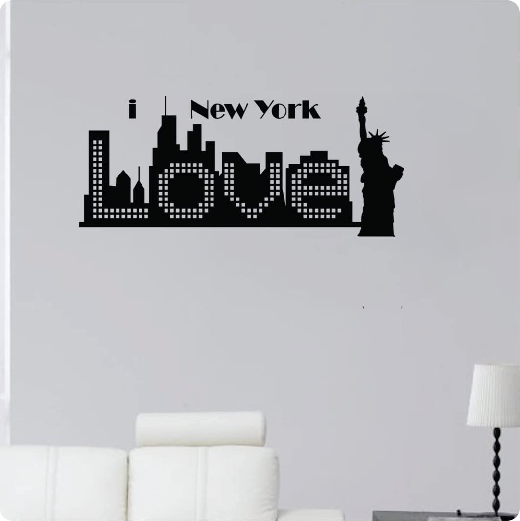 Skyline Art Vinyl Sticker USA Lady Liberty New York City Skyline NYC Art Wall Decal Statue of Liberty New York City Decor State