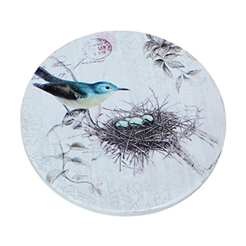 (Blue Birds) 4 PCS American Scald-proof Cup Tray Round Coffee & Tea Cup Mat