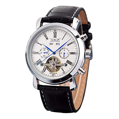 (GuTe Dress Gentlemen Decor Tourbillon Automatic Mechanical Wrist Watch White Dial Full-calendar)
