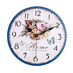 ColorSpring Battery Operated Non Ticking 12 inch - White Rose Flower Wood Wall Clock - Analog Quartz Wooden Kitchen Wall Clocks Large Decorative for Bedrooms, Living Room, Bathroom