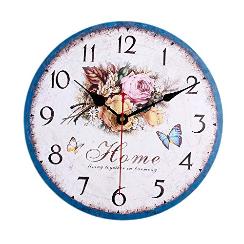 - ColorSpring Battery Operated Non Ticking 12 inch - White Rose Flower Wood Wall Clock - Analog Quartz Wooden Kitchen Wall Clocks Large Decorative for Bedrooms, Living Room, Bathroom