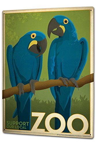 Tin Sign XXL Bird Species Blue Macaws Zoo Zobesuch (Macaw Species)