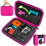 CamKix Protective Carrying Case for GoPro Hero 4, 3+, 3 and 2 and Accessories - Ideal for Travel or Home Storage - Complete Protection for Your GoPro Camera - Carabiner and Microfiber Cleaning Cloth Included - (Medium, Hot Pink)