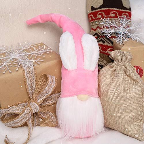 1Tomte Swedish Plush Santa Gnome, Pink Bunny Gnome Handmade Scandinavian Tomte Santa Scandinavian Gnome for Christmas Santa Decoration Table Decor