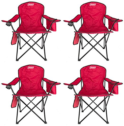 4-Pack Coleman Cooler Quad Chairs With Built-In Cooler, Red | 4 x 2000020264