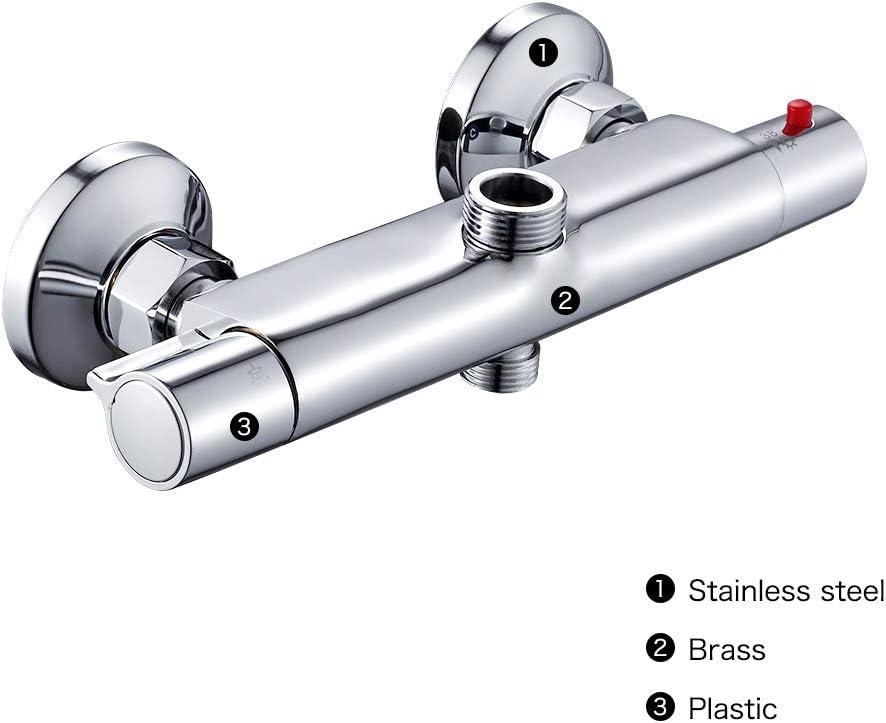 25mm 21mm WYZQ Robinets de mitigeur de Barre de Douche thermostatique Ronde Chrome Salle de Bain Double Sortie Top 3//4BSP robinets de Salle de Bain Bas 1//2 BSP Rond