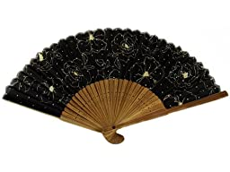 Japanese Design Silk Handheld Folding Fan, Black with Sketched Flowers HF-184