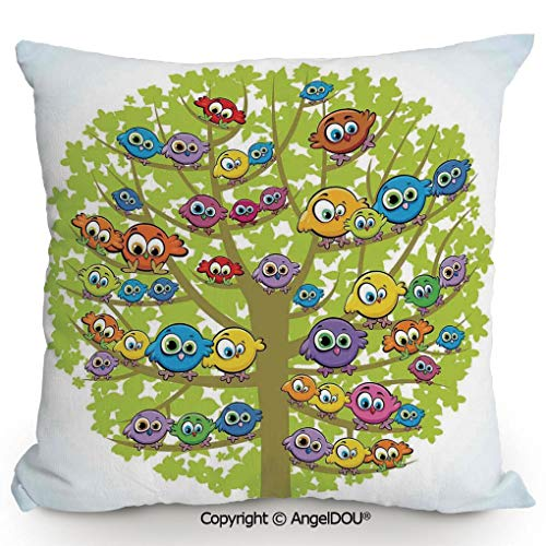 AngelDOU Fashion Sofa Cotton Linen Throw Pillow Cushion,Cartoon Group of Fun Colorful Canary Bird Family on Oak Branches Animal Illustration,Bed Office car Pillow Customized Accept.15.7x15.7 inches