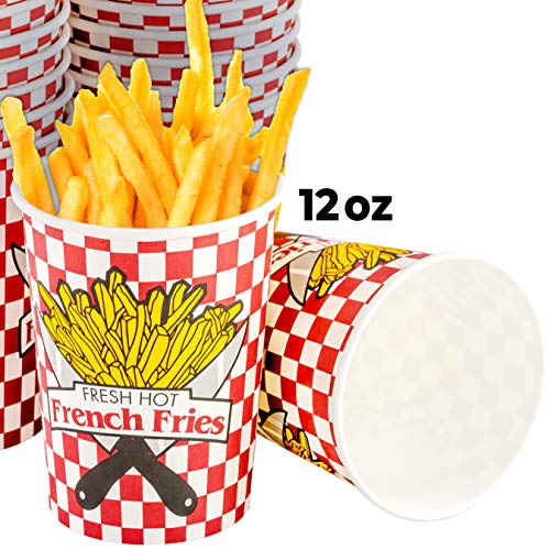 Grease-Proof Paper French Fries Cups 50 Pack. Each Sturdy Fry Container Holds 12 oz and is Sized for Handheld Snacking! Great for Concession Stands, Fundraiser Carnivals and Food Trucks!