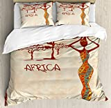 African Woman Queen Size Duvet Cover Set by Ambesonne, Vintage Africa Themed Illustration Slim Indigenous Girl Figure Colorful Dress, Decorative 3 Piece Bedding Set with 2 Pillow Shams, Multicolor