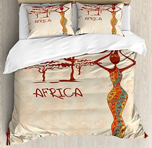African Woman Queen Size Duvet Cover Set by Ambesonne, Vintage Africa Themed Illustration Slim Indigenous Girl Figure Colorful Dress, Decorative 3 Piece Bedding Set with 2 Pillow Shams, Multicolor by Ambesonne