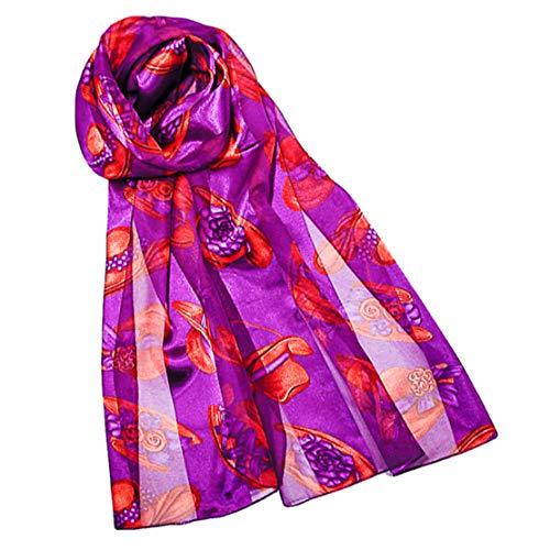 Red Hat Society Long Print Satin Chiffon Neck Scarf - Purple