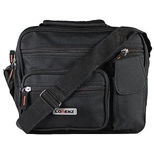 New Large Mens Ladies Twin Top Zip Bag Work Travel Cross Body Shoulder Handbag (Black)