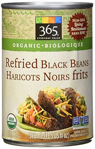 365 Everyday Organic Refried Black Beans Net Weight 13.5oz(1lb)