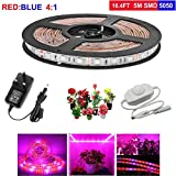 LED Grow Light Strip, Topled Light 6.56ft Plant Strip Light with Rotate Dimmer, Full Spectrum SMD 5050 Red Blue 4:1 Rope Light for Aquarium Greenhouse Hydroponic Pant Indoor Grow Light (2M)