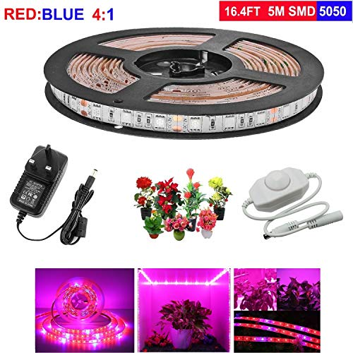 LED Grow Light Strip, Topled Light 6.56ft Plant Strip Light with Rotate Dimmer, Full Spectrum SMD 5050 Red Blue 4:1 Rope Light for Aquarium Greenhouse Hydroponic Pant Indoor Grow Light (2M) by Topled Light